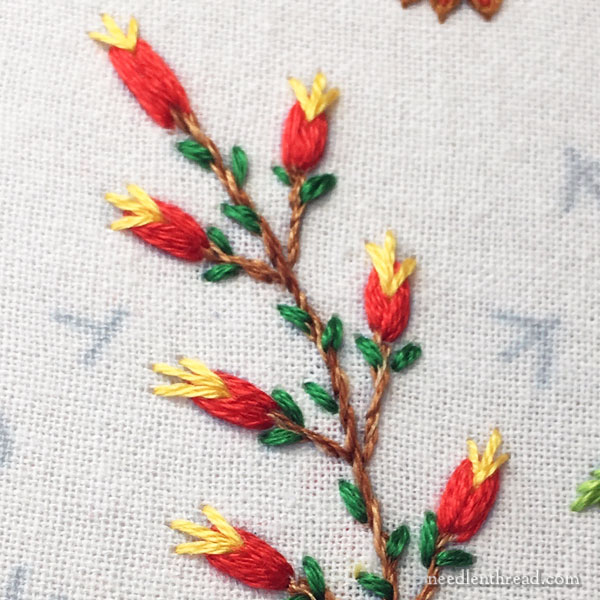 Embroidered budding branch