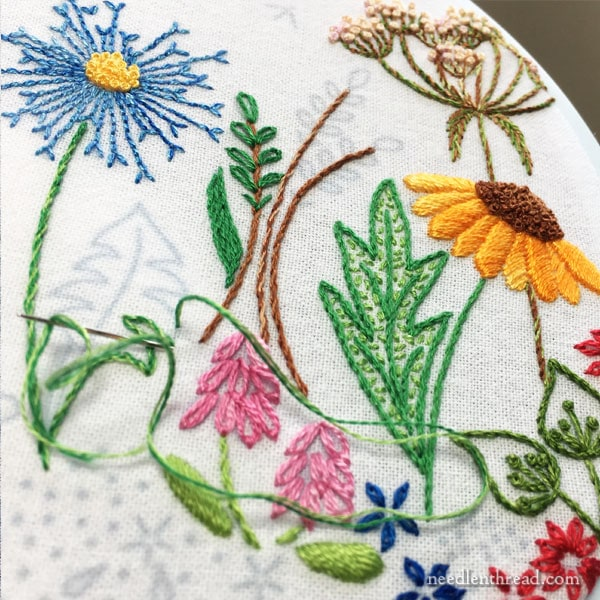 Embroidered flower garden border