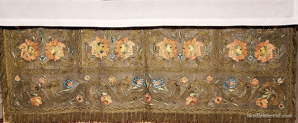Gold and Silk Embroidered Antique Altar Frontal