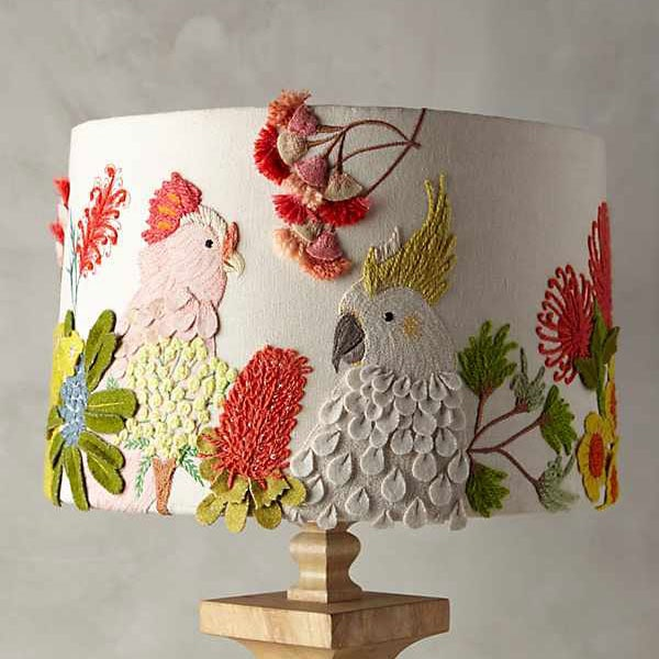 Anthropologie lamp shade with embroidery and appliqué