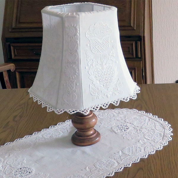 Schwalm Embroidery Lampshade, Luzine Happel