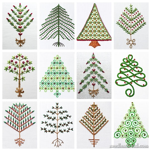 Twelve Trees for Christmas - Easy Small Embroidery for the Holidays