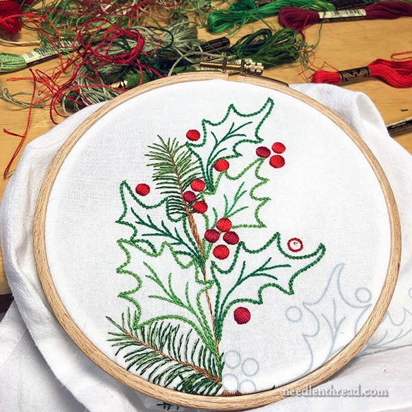 Holly & Evergreens Christmas embroidery corner design