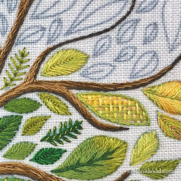Stylized Tree with Large Leaves, embroidered