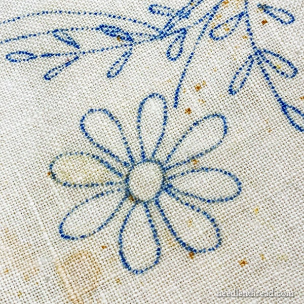 Pre-Stamped Linen Tablecloth for Embroidery