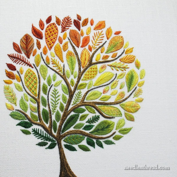 Embroidered Tree with Large Leaves