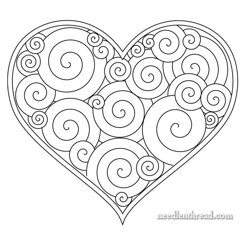 Curlicue Heart Hand Embroidery Pattern