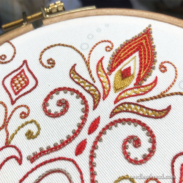 Hand Embroidered Tote Pocket with Kaleidoscope Design