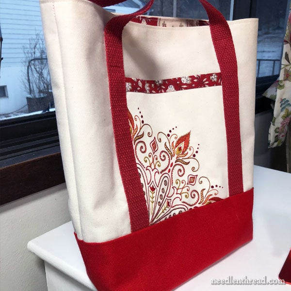 Hand Embroidered Pocket on a Tote Bag