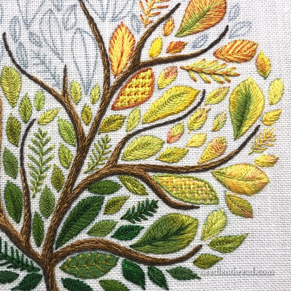Hand embroidered tree with big leaves