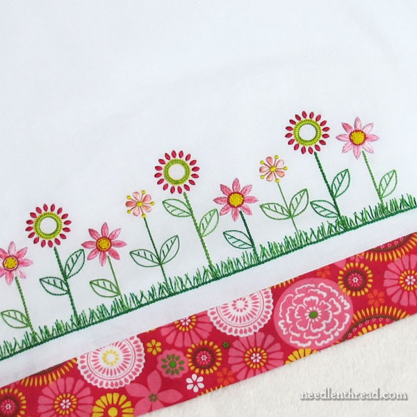 Embroidered Flower Line on Pillow Case Edge