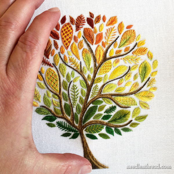 Leafy Tree embroidery kit - project size perspective