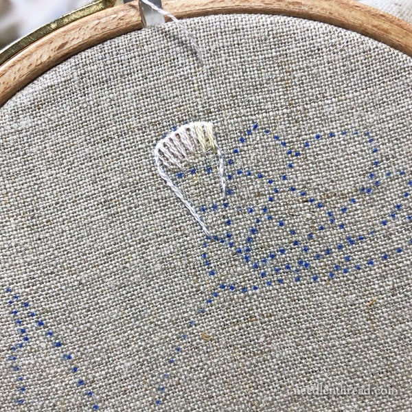 Needlepainting in Embroidery - Flower from Side View