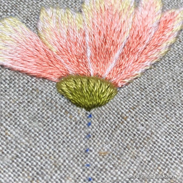 Needlepainting embroidery - long and short stitch flower