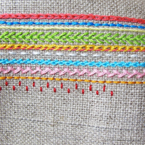 embroidery sampler of line stitches