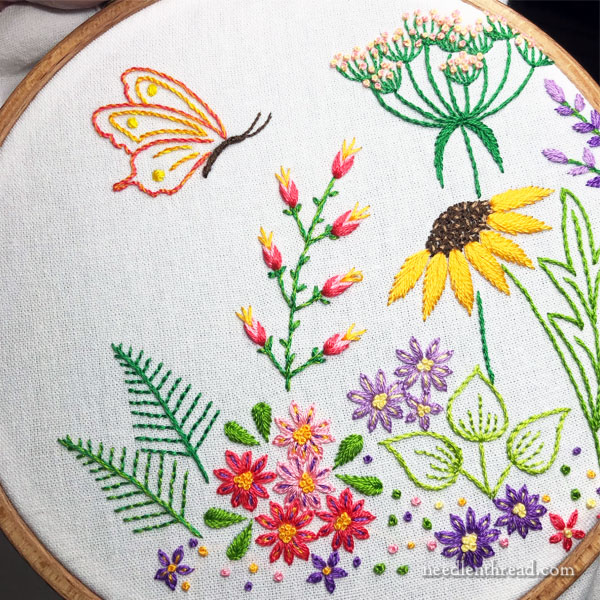 Embroidered Flower Garden Scene for Summer