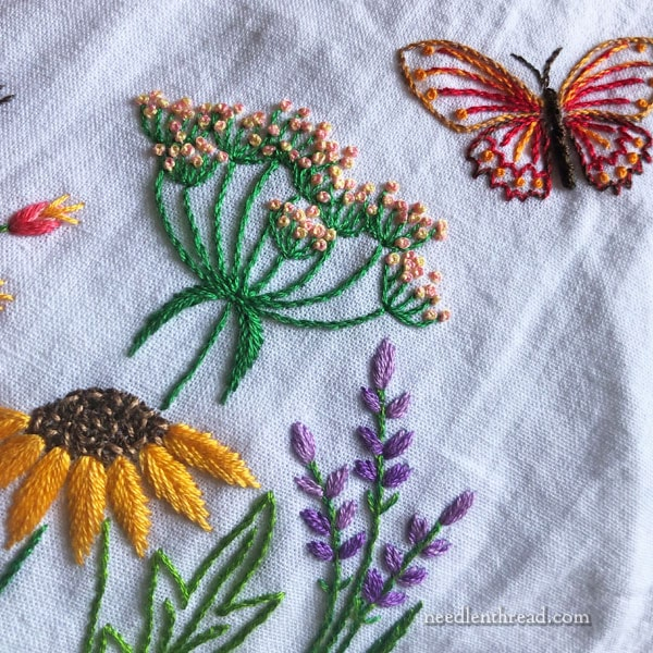 Hand embroidered summer garden on flour sack towel