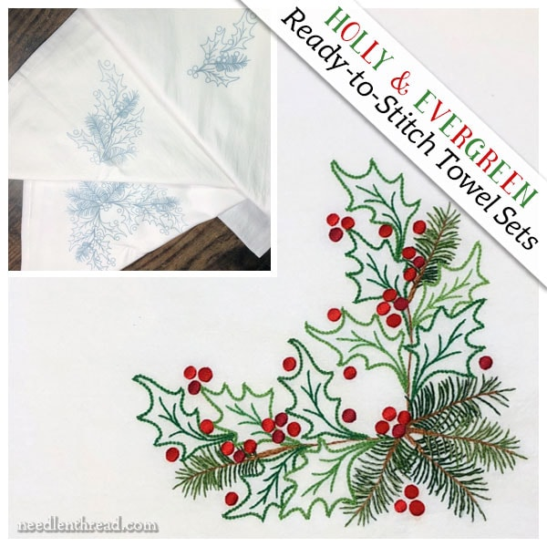 Holly & Evergreen three-towel sets ready to stitch
