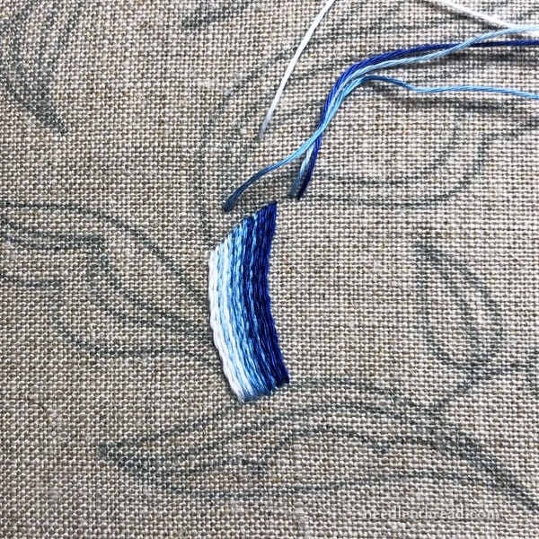 Blue Jacobean Embroidery Project