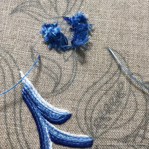 Jacobean Blues embroidery project