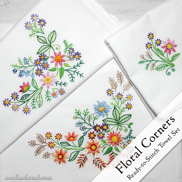 Floral Corners ready-to-stitch towel set