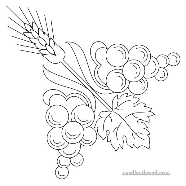 free hand embroidery pattern: contemporary grapes and wheat