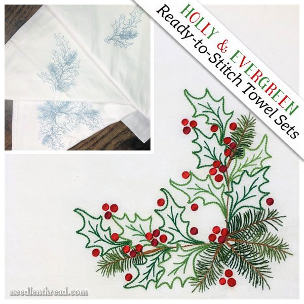 Holly & Evergreen Ready to Stitch Towel Sets