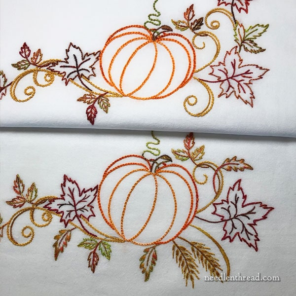 hand embroidery autumn design with pumpkin, leaves, wheat