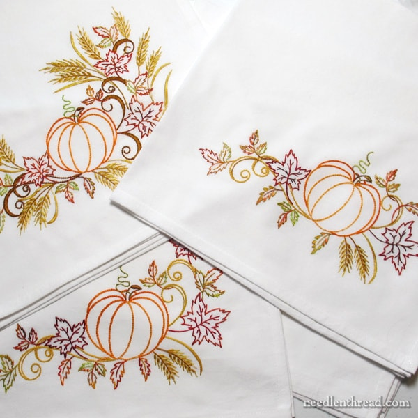 Festive Fall ready to stitch towel sets