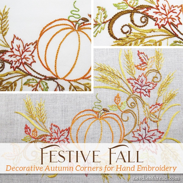 Festive Fall Autumn Designs for Hand Embroidery
