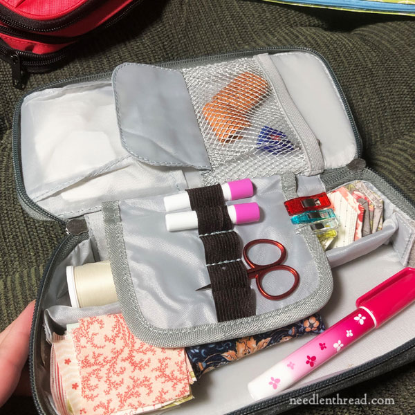 Pouches and cases used for embroidery travel kits