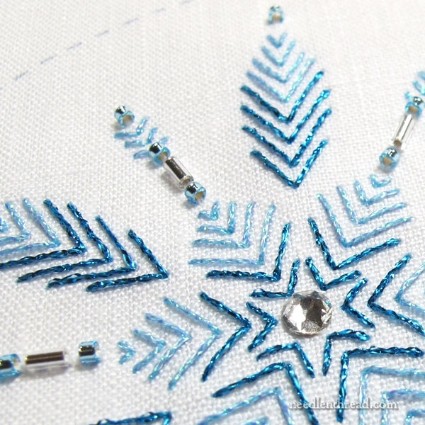 Embroidered Snowflake in blue metallics with beads and crystal