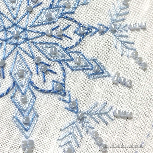 Embroidered Snowflake in icy blues with beads