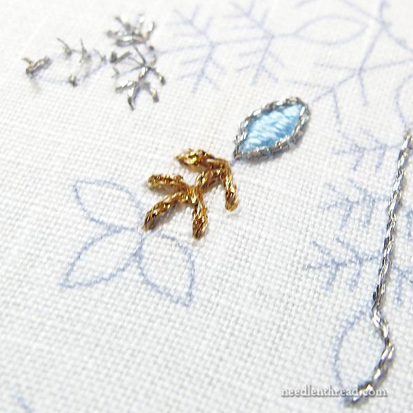 Testing embroidery ideas on snowflakes