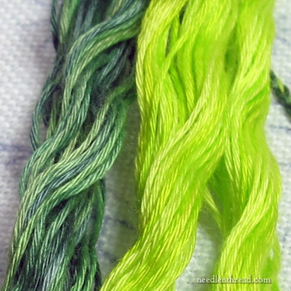 Neon green and pine greens in cotton floche embroidery thread