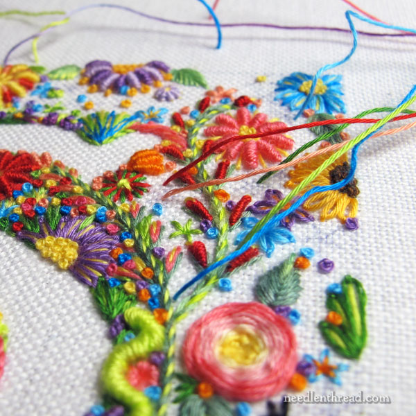 Floral embroidery with cotton floche embroidery thread
