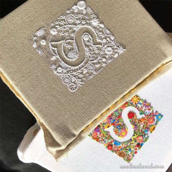 Voided Monogram in Color & Whitework