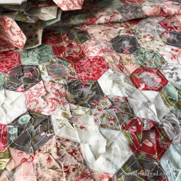 Hexie Quilt Project update and Traveling with Needlework