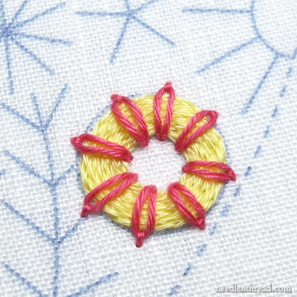 Raised daisy stitch ring: embroidery stitch fun tutorial
