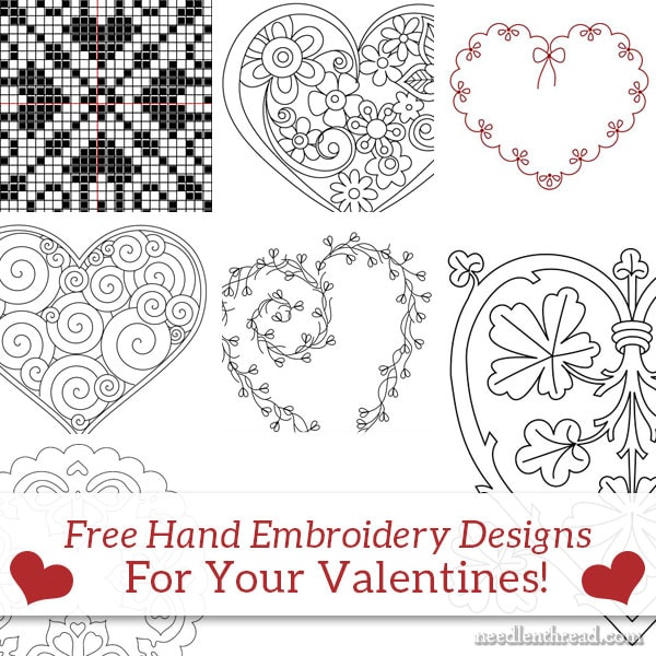 Free Hand Embroidery Patterns: Hearts & Valentines