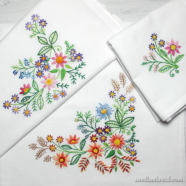 Floral Corners ready-to-stitch towel sets