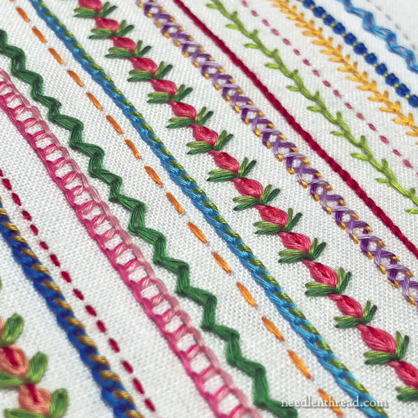 Sampling Stitches for finishing - embroidery with floche