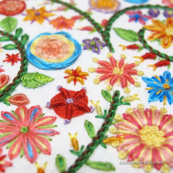 Colorful Hand Embroidery floral filling with floche