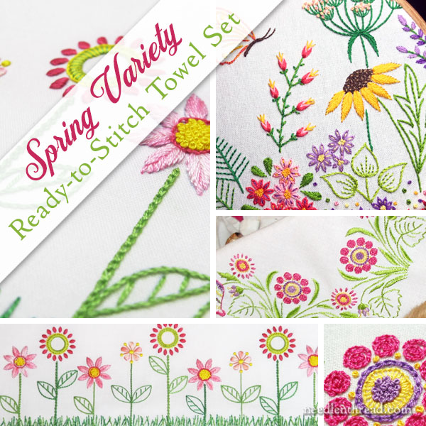 Spring Variety Ready-to-Stitch Towel Set for hand embroidery