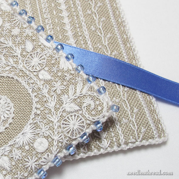 Voided Monogram in Whitework with Blue Trim