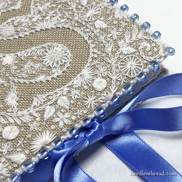 Embroidered Needlebook with Beaded Edge