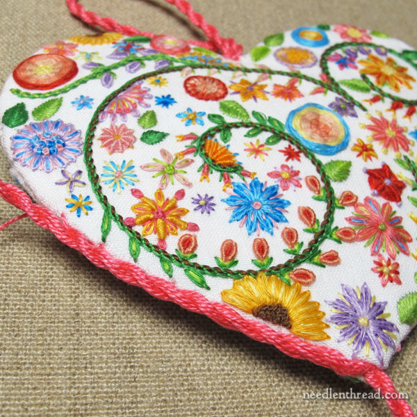 Floral Heart embroidered sachet - finishing