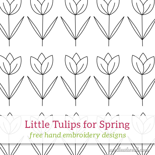 Little Tulips for Spring hand embroidery design