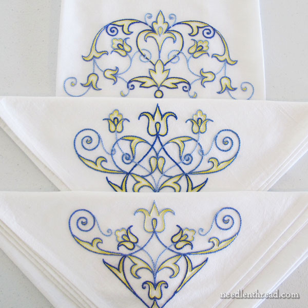 Scroll Design towel set for embroidery