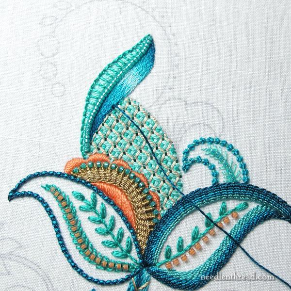 Jacobean silk embroidery design